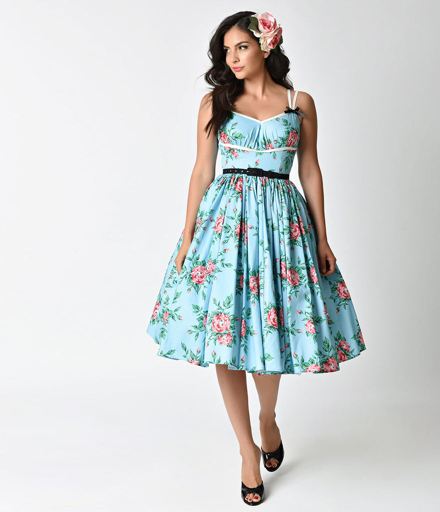Micheline Pitt For Unique Vintage Light Blue Budding Beauties Alice Swing Dress
