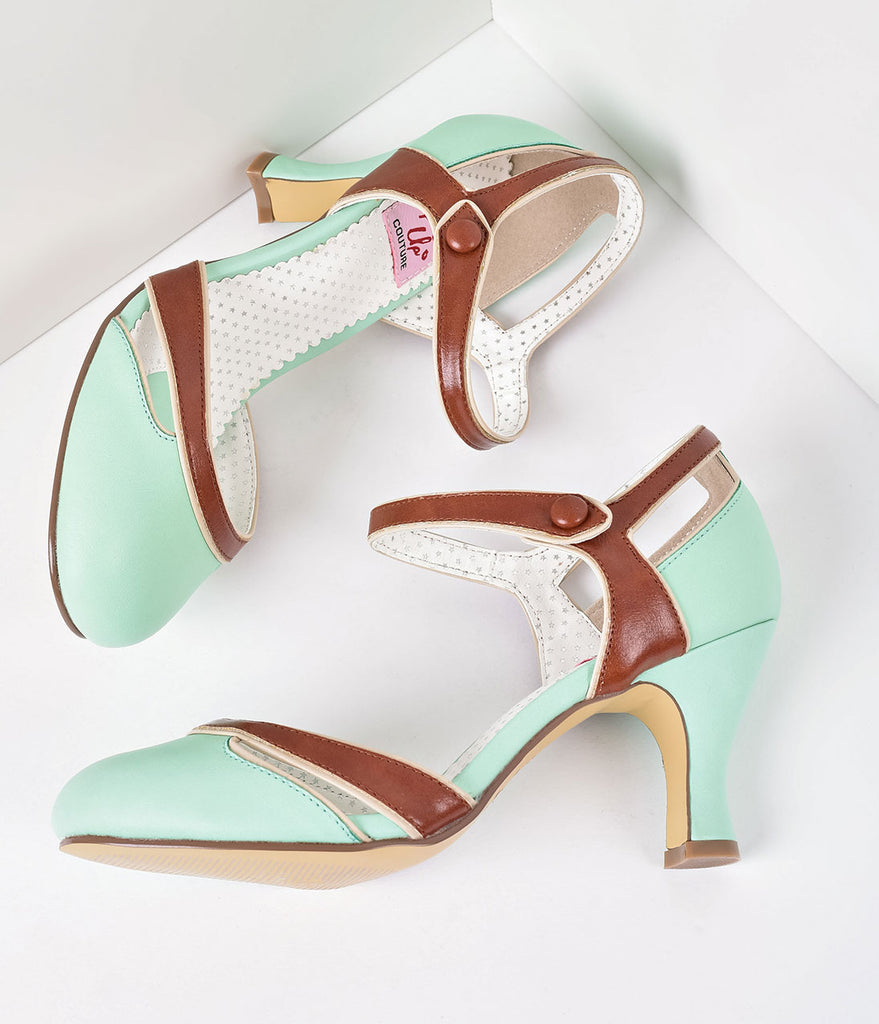 Mint & Brown Leatherette d'Orsay Round Toe Pumps