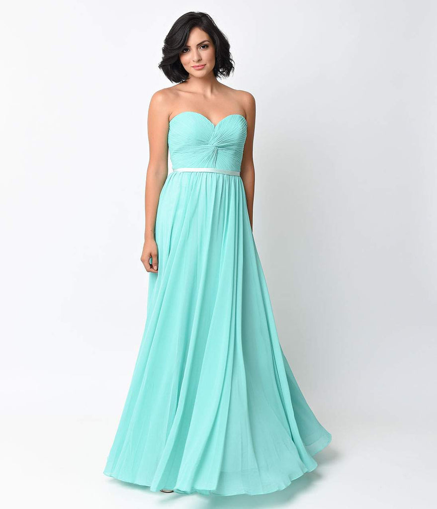 Mint Chiffon Strapless Sweetheart Corset Long Gown