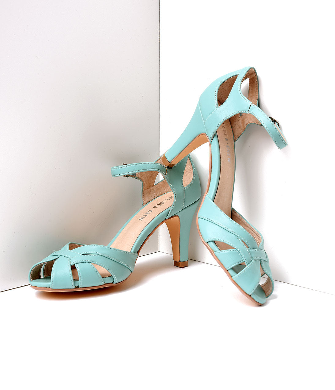 Pin Up Shoes- Heels & Flats Mint Leatherette Peep Toe DOrsay Pump Shoes $48.00 AT vintagedancer.com