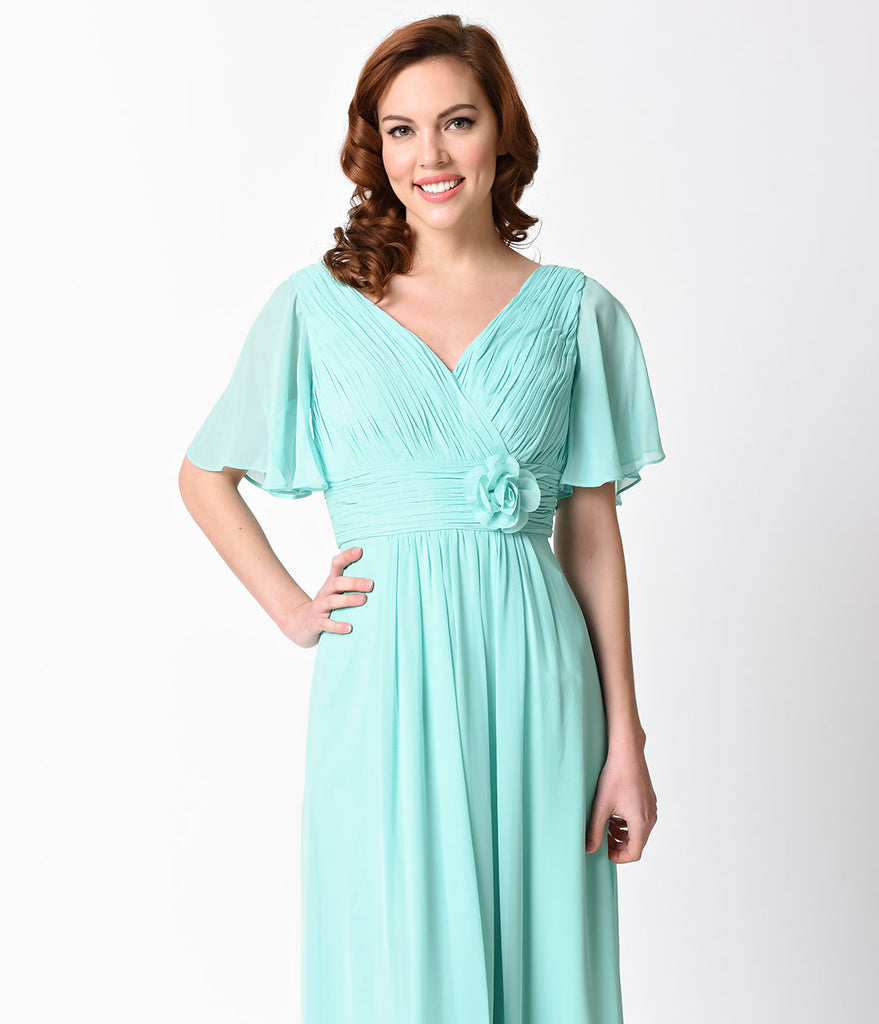 Mint Ruffle Sleeve Chiffon Long Dress