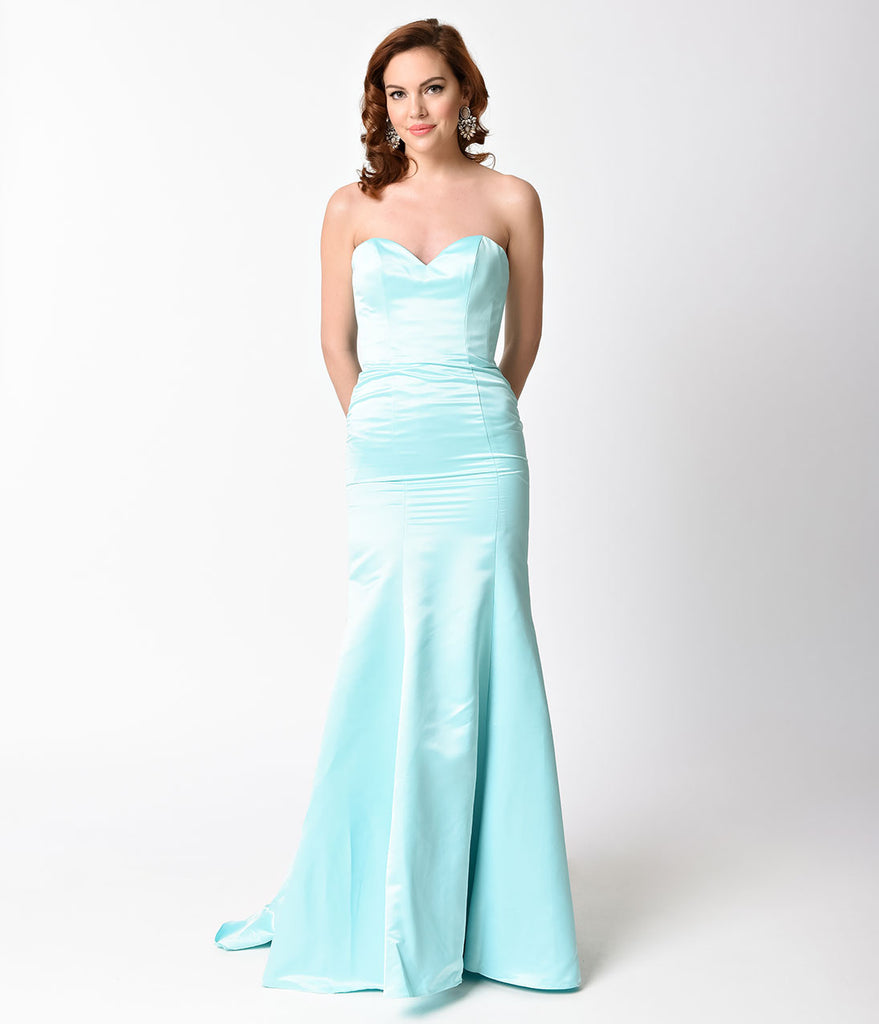 Mint Strapless Satin Sweetheart Mermaid Gown – Unique Vintage