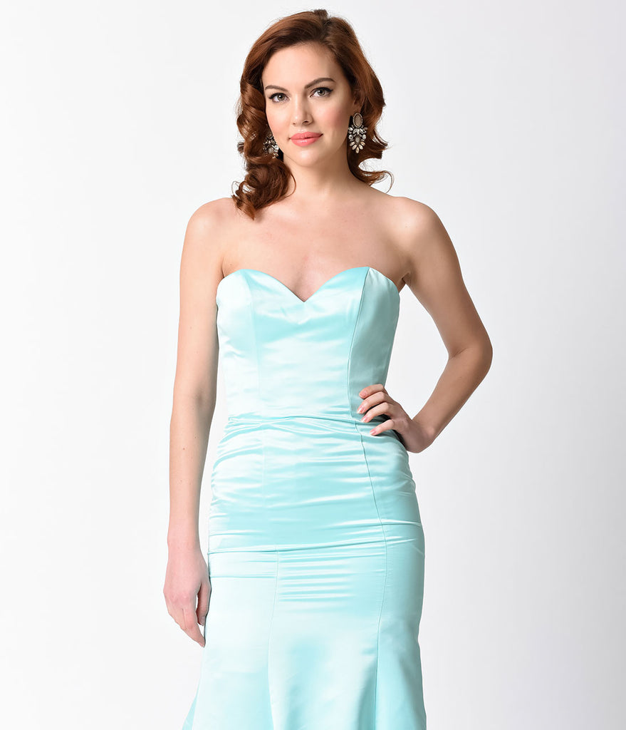 Mint Strapless Satin Sweetheart Mermaid Gown