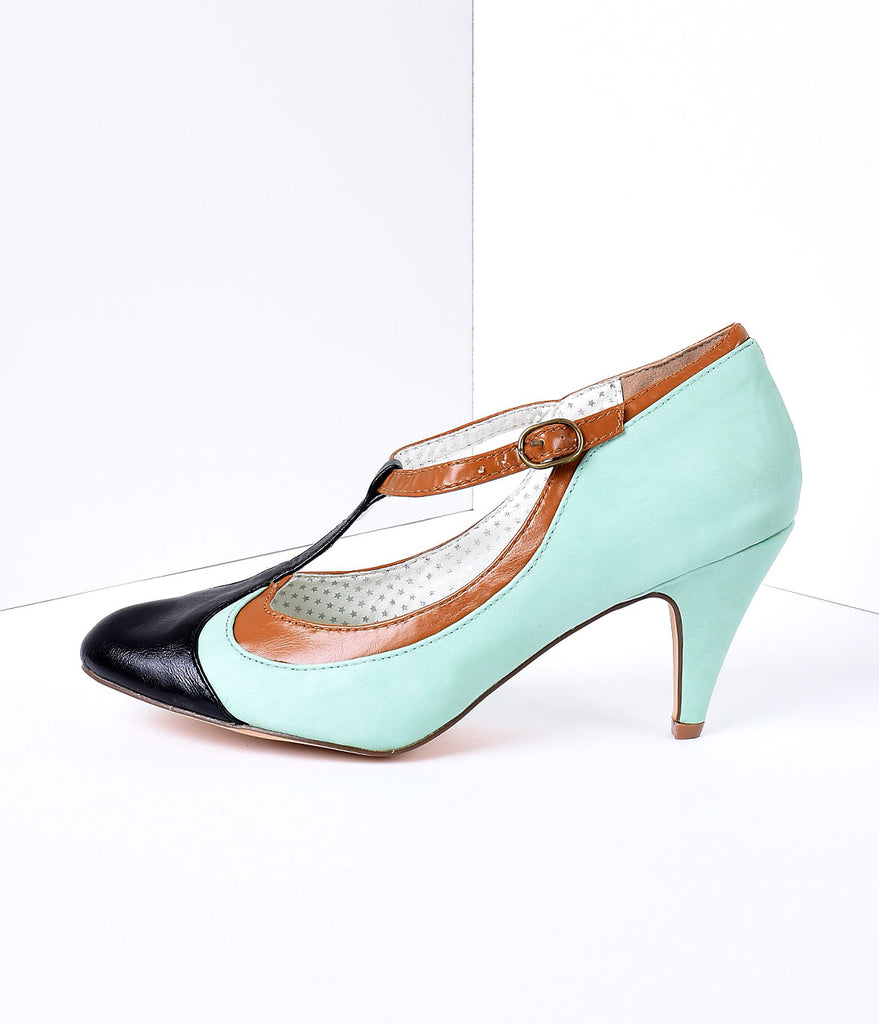 Mint Tricolor Leatherette T-Strap Pumps