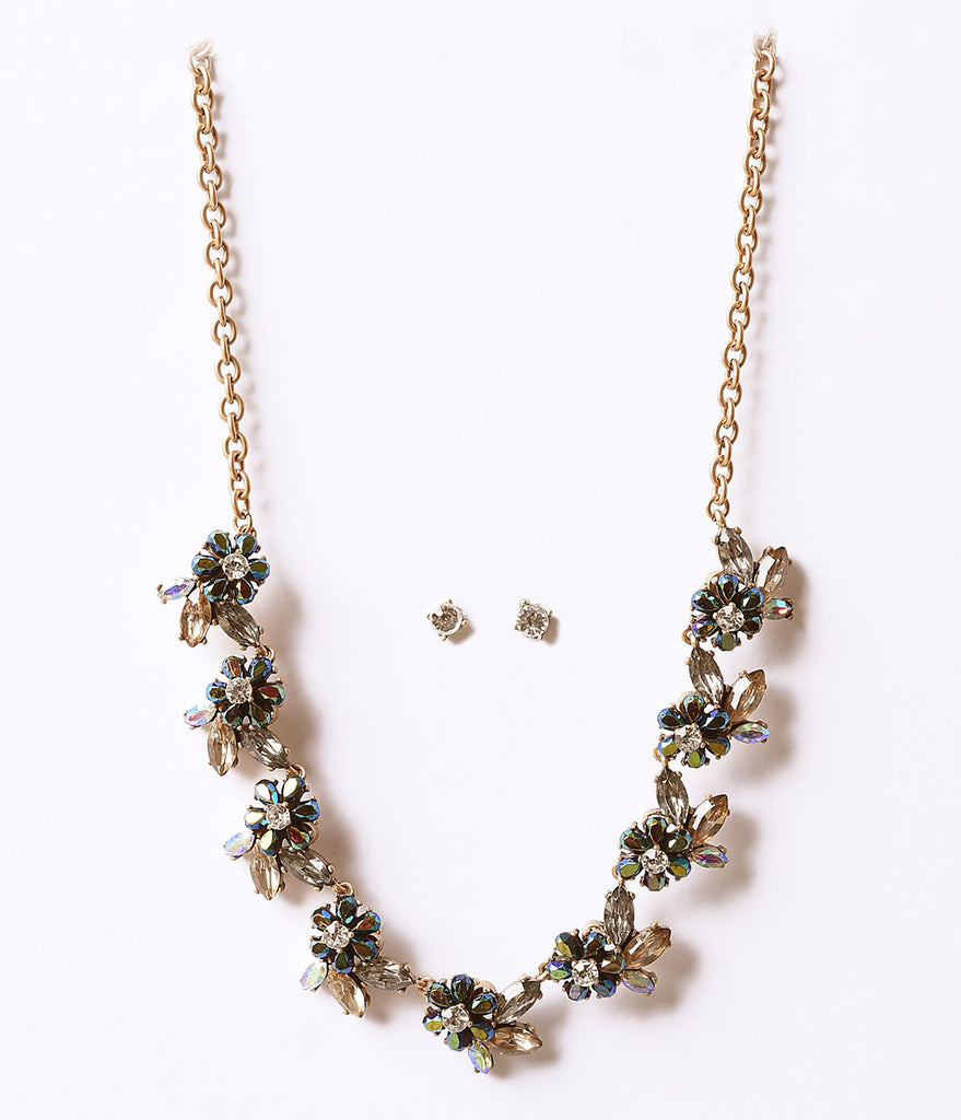 Multi Floral Deco Rhinestone Necklace & Earring Set