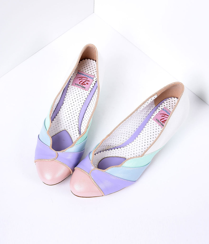Multicolor Faux Leather Scalloped Kitten Heel
