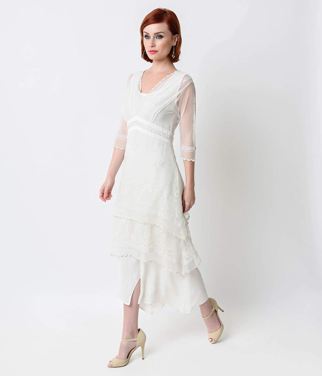 Victorian Edwardian Style Wedding Dresses, Shoes, Accessories Nataya 1930s White Embroidered Titanic Tulle Tea Length Dress $212.00 AT vintagedancer.com