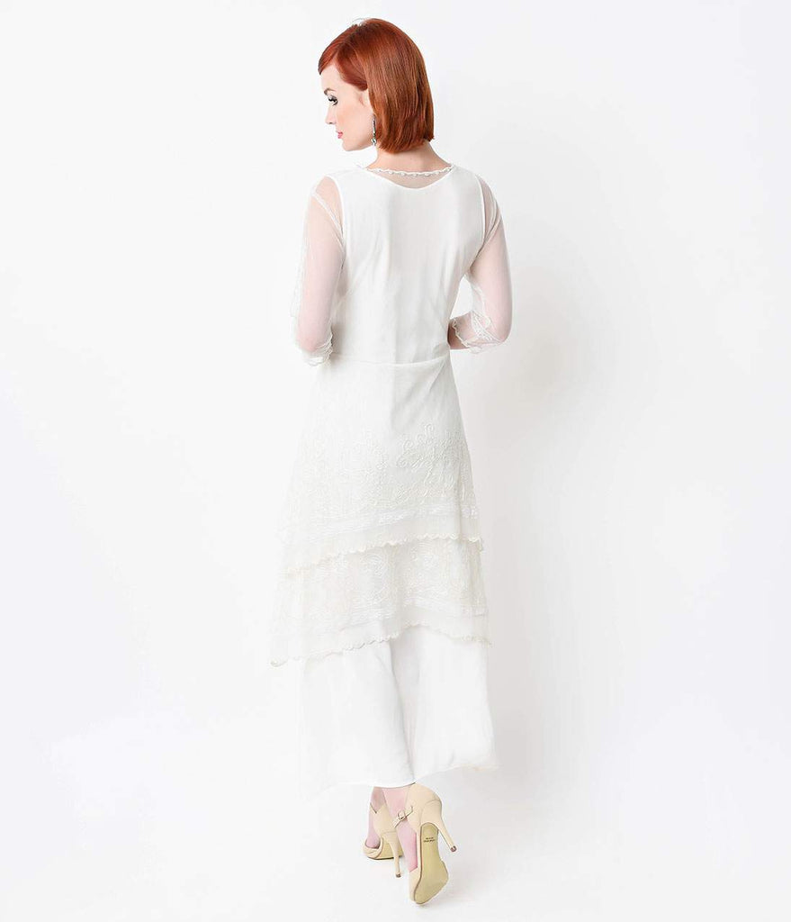 Nataya 1930s White Embroidered Titanic Tulle Tea Length Dress