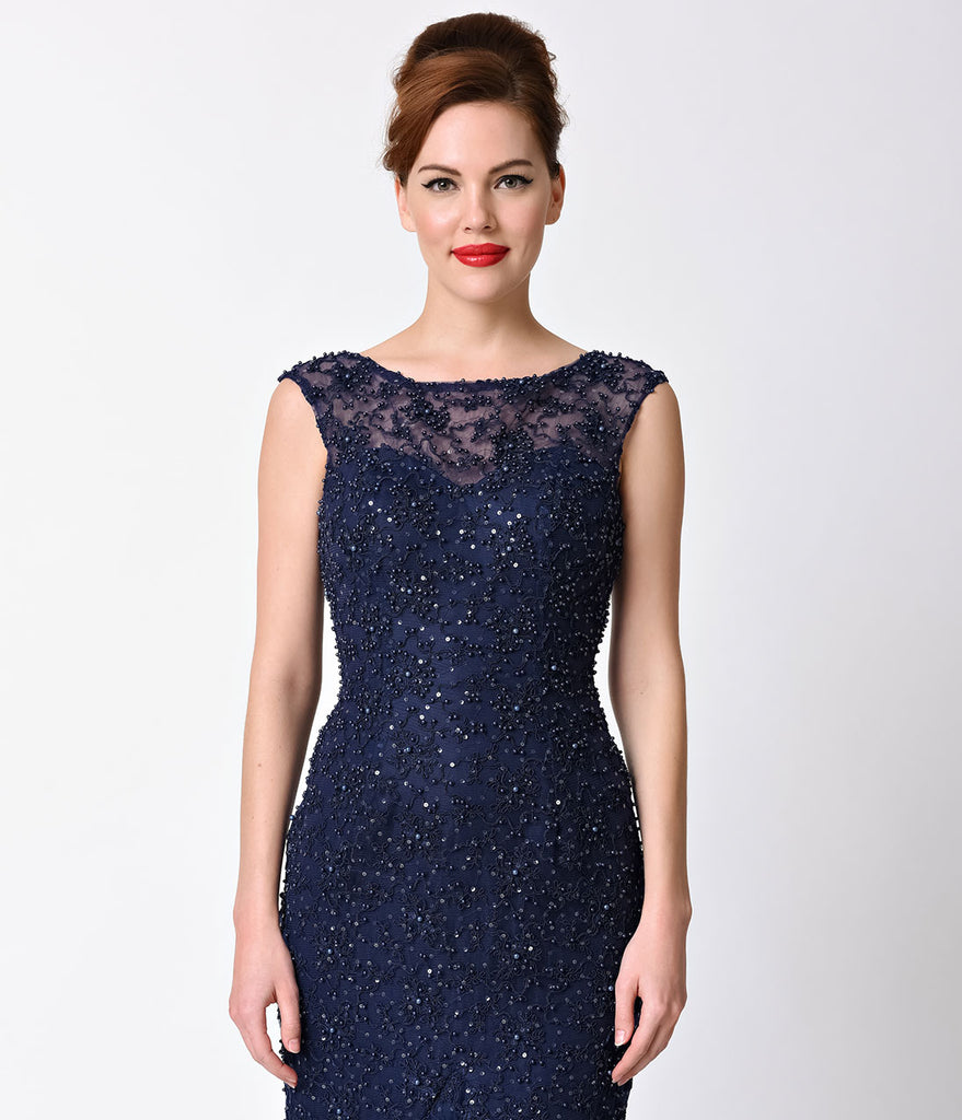 Navy Beaded Cap Sleeve Sheer Illusion Gown