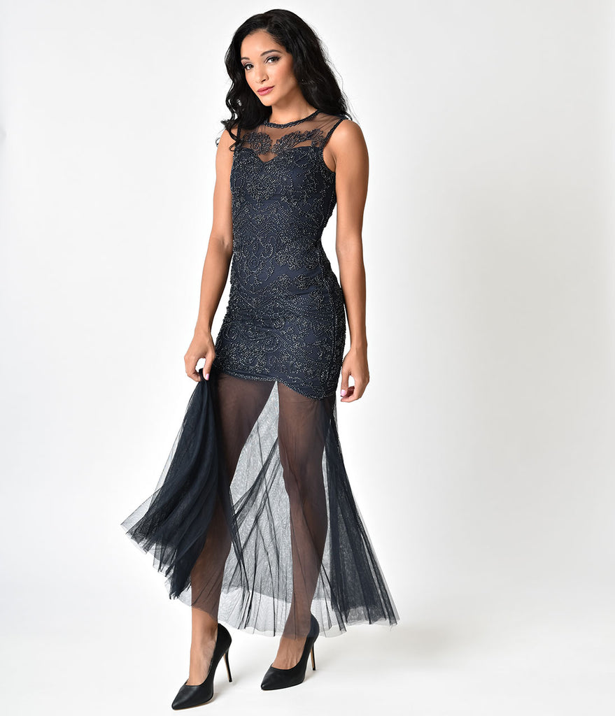 Navy Beaded Mermaid Long Flapper-Style Cocktail Dress