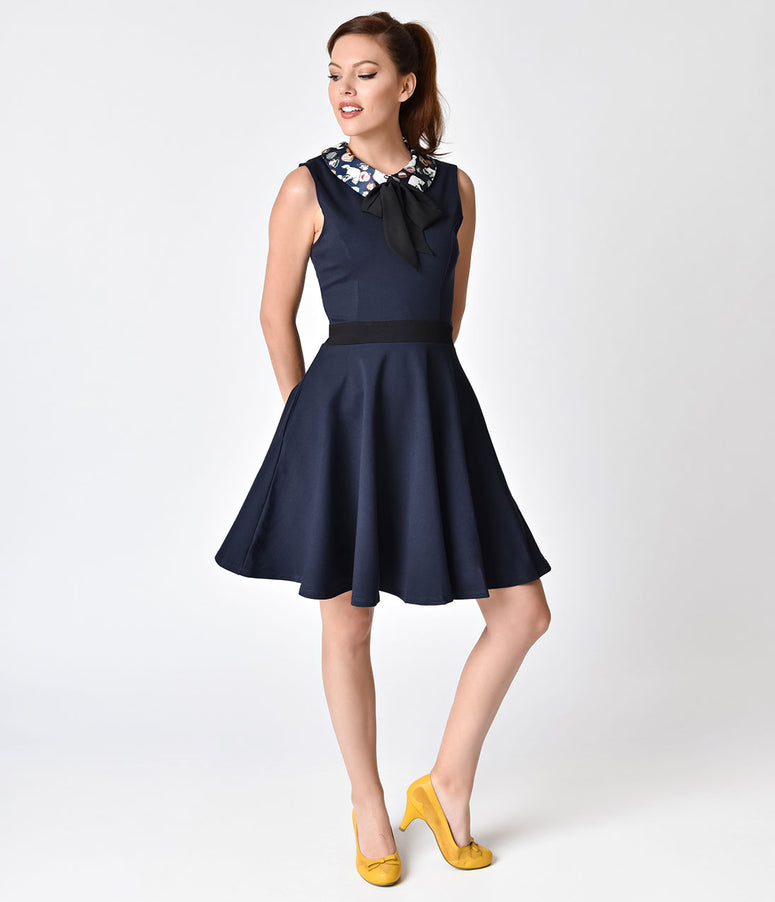 Navy Blue Cats At Teatime Fit & Flare Sleeveless Dress