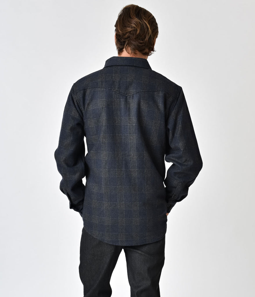 Navy Blue Plaid Wool Altamont Long Sleeve Flannel Button Up Shirt