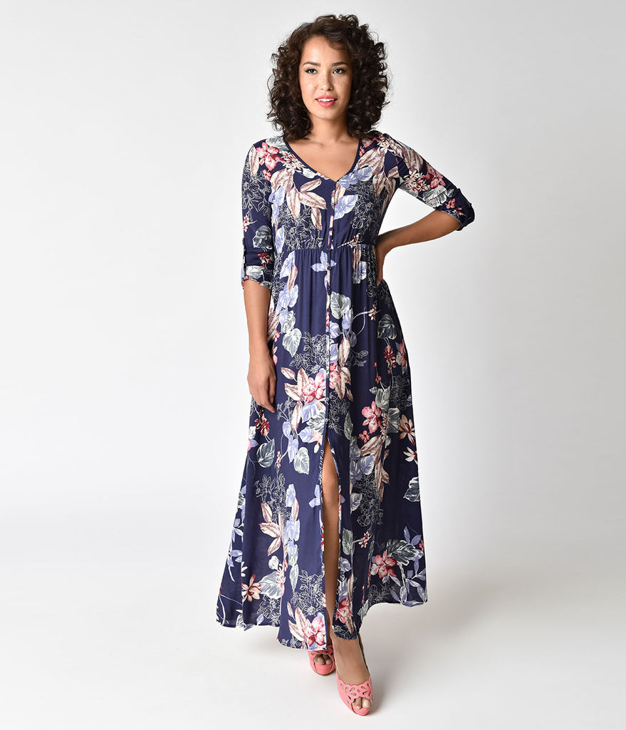 Navy & Floral Long Sleeve Button Up Maxi Dress