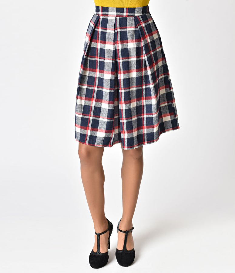 Navy, Red, & Ivory Plaid High Waist Cotton Flare Skirt