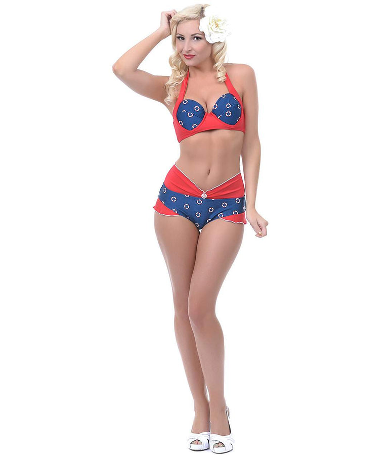 Navy & Red Life Rings Ruby Bikini Top