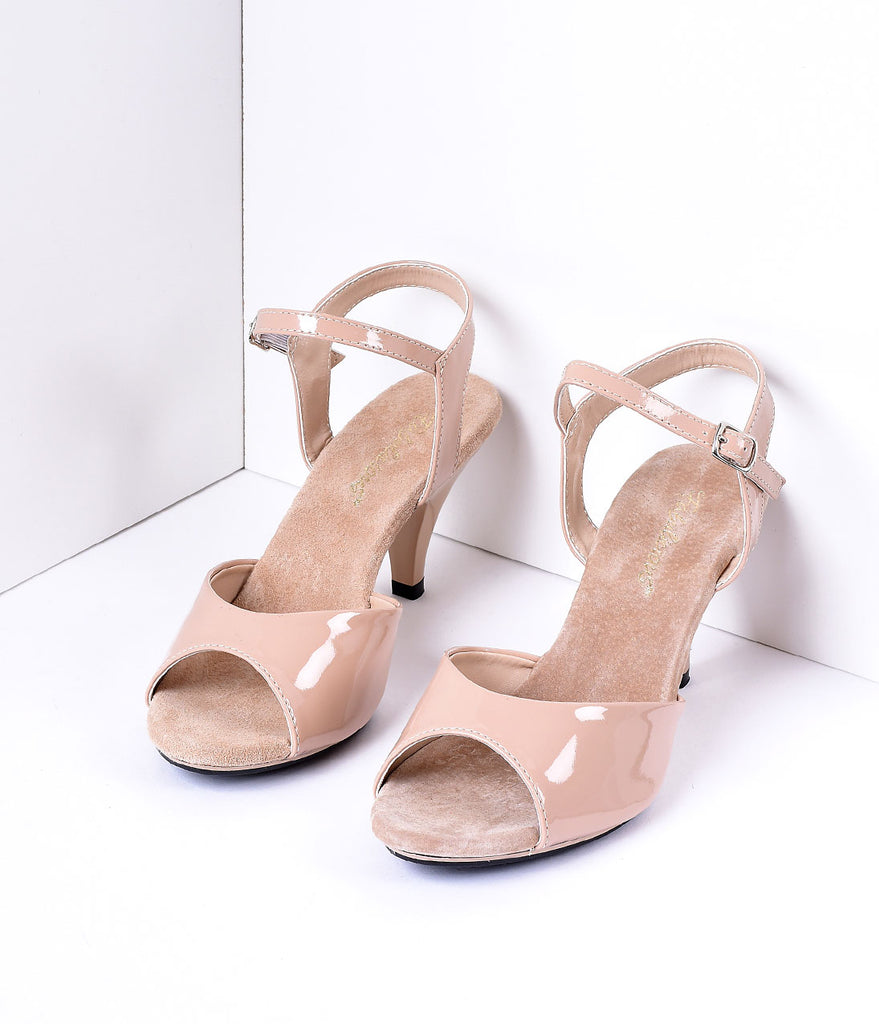 Nude Patent Leather Belle Sandal Pump