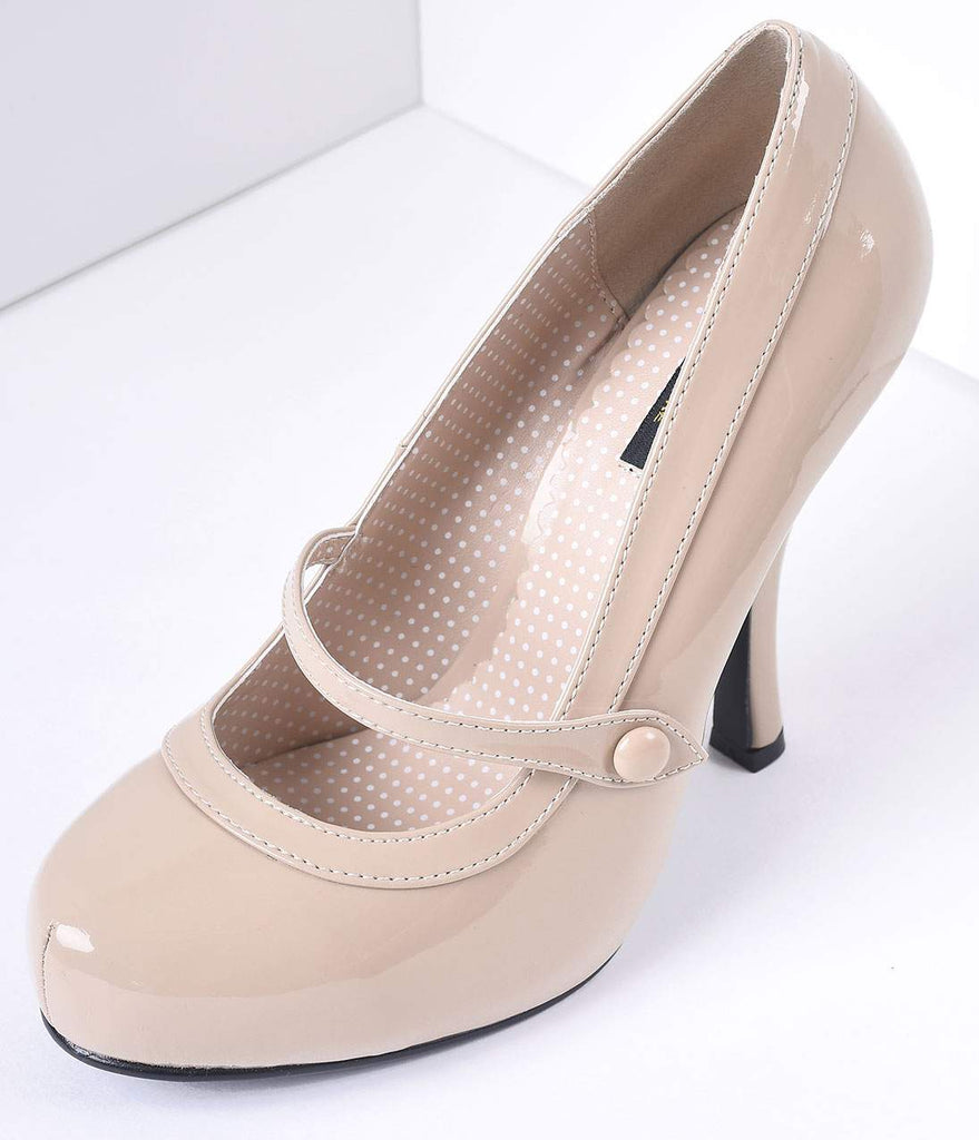 Nude Patent Leather Cutie Pie Pumps