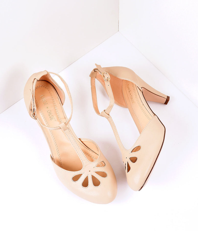 Nude Pleather Cutout Kimmy T-Strap Heels