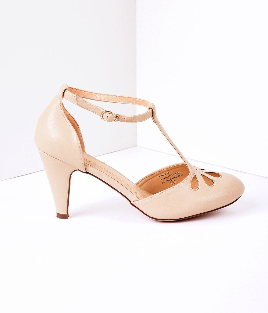 Nude Pleather Cutout Kimmy T-Strap