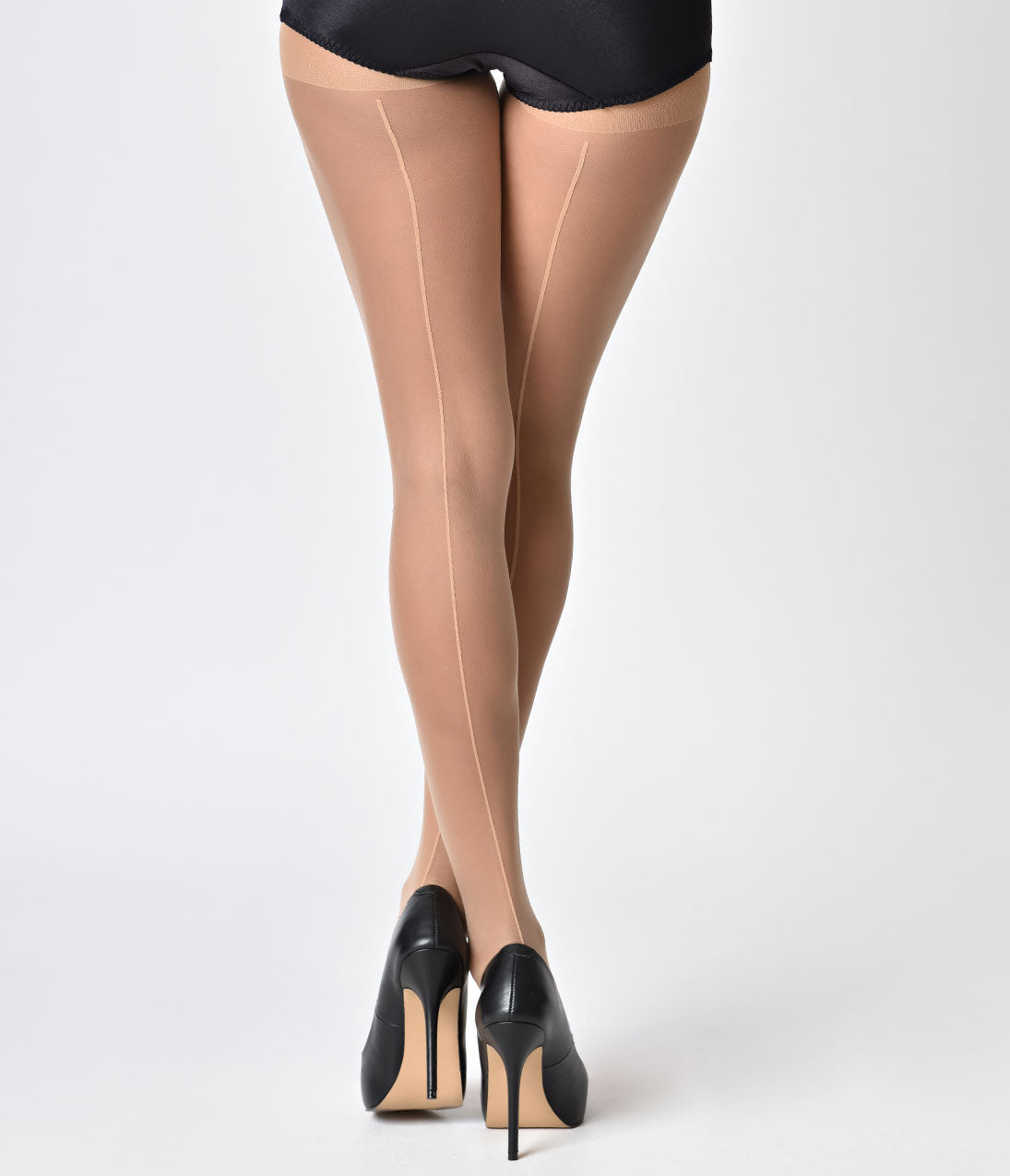 Seamed Stockings, Nylons, Tights Nude Sheer Backseam Pantyhose $12.00 AT vintagedancer.com
