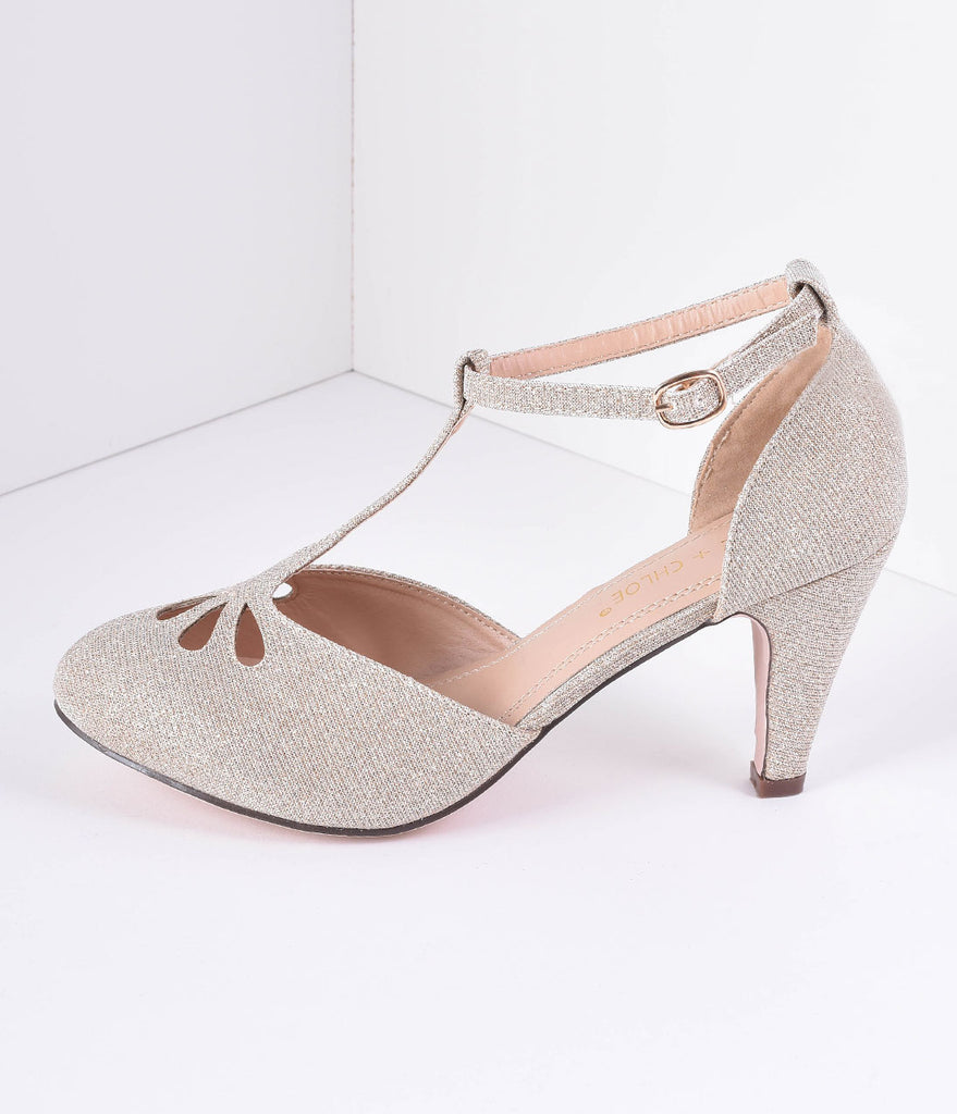 Nude Sparkle Cutout Kimmy T-Strap Heels