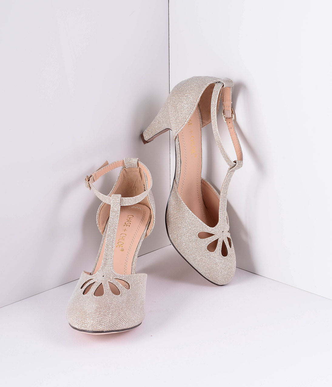 1950s Style Shoes Nude Sparkle Cutout Kimmy T-Strap Heels $46.00 AT vintagedancer.com