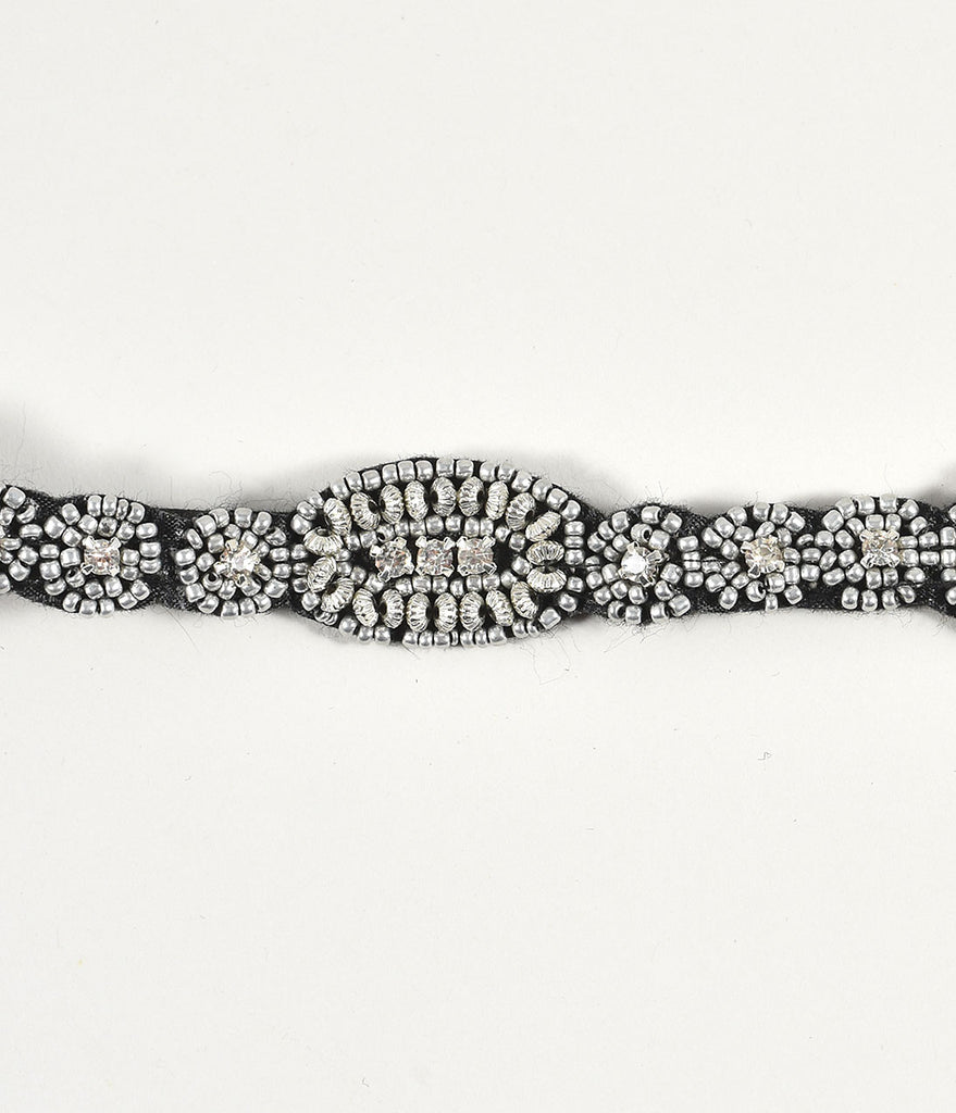 Unique Vintage Silver Beaded & Rhinestone Deco Flapper Headband
