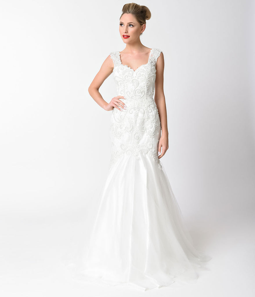Off White Beaded Lace Cap Sleeve Mermaid Gown ...