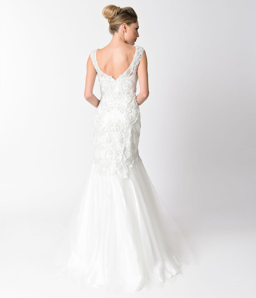 Off White Beaded Lace Cap Sleeve Mermaid Gown
