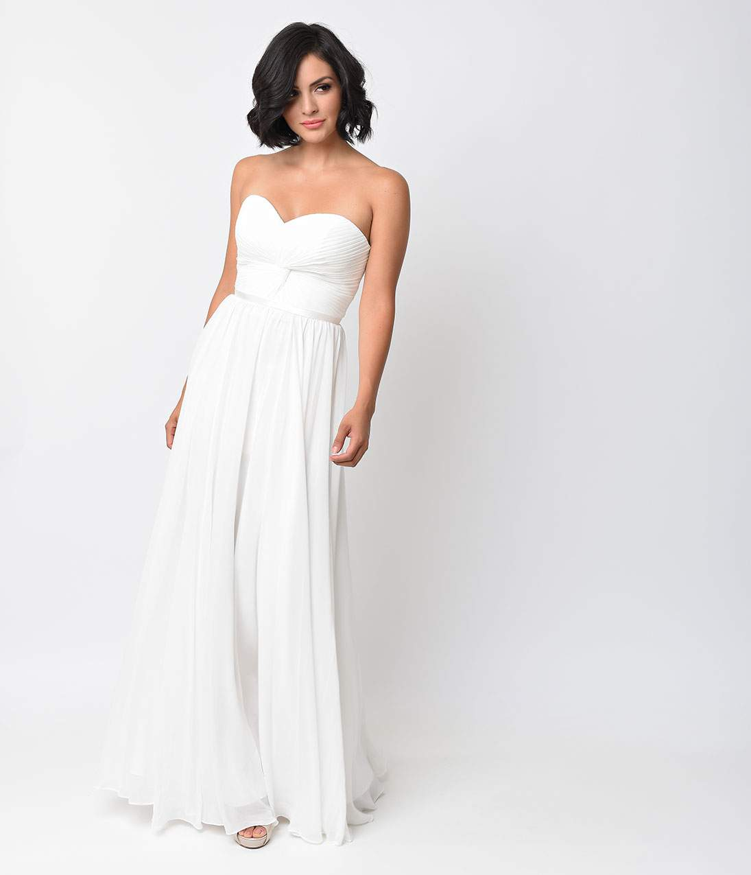 Vintage Inspired Wedding Dress | Vintage Style Wedding Dresses Off White Chiffon Strapless Sweetheart Corset Long Gown $96.00 AT vintagedancer.com
