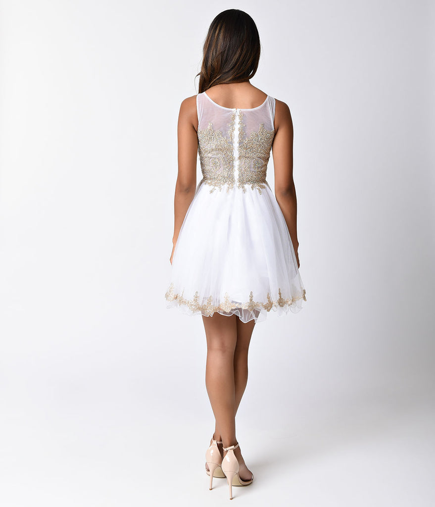 Off White Sheer Embellished Tulle Short Dress