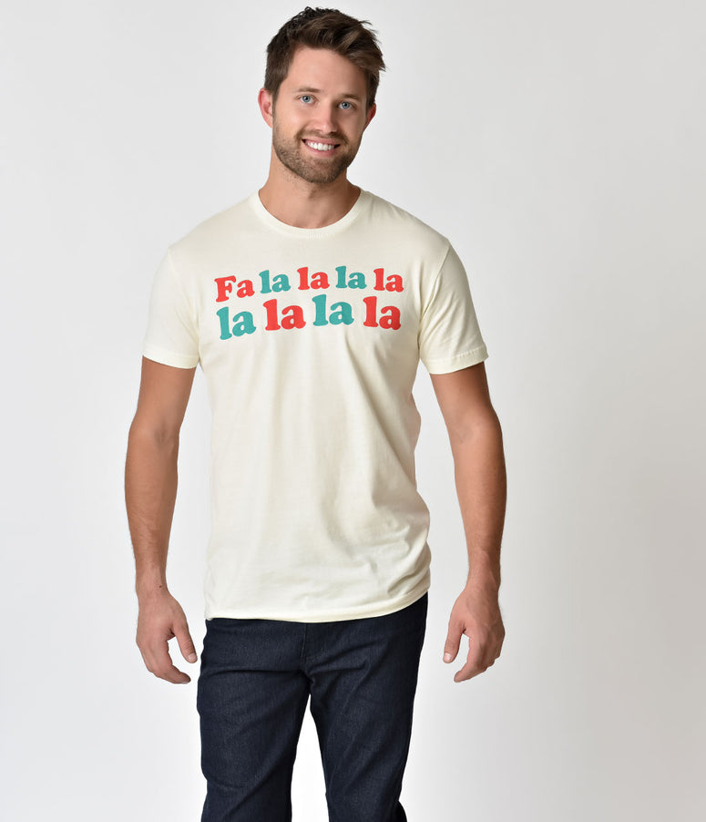 Oh Yeah Apparel Ivory Fa La La La Cotton Mens Shirt
