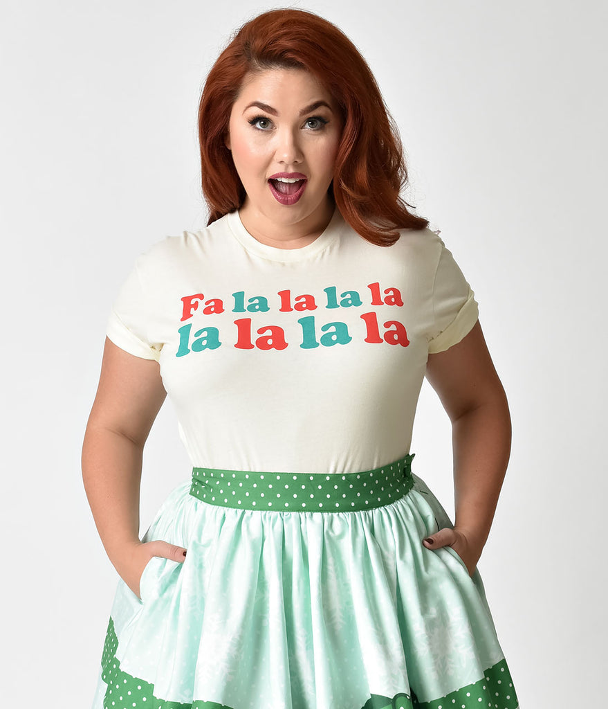 Oh Yeah Apparel Ivory Fa La La La Unisex Crew Neck Cotton Tee Shirt