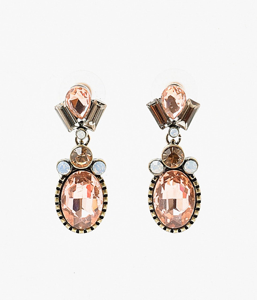 1930s Jewelry | Art Deco Style Jewelry Peach Rhinestone  Antique Bronze Deco Drop Earrings $14.00 AT vintagedancer.com