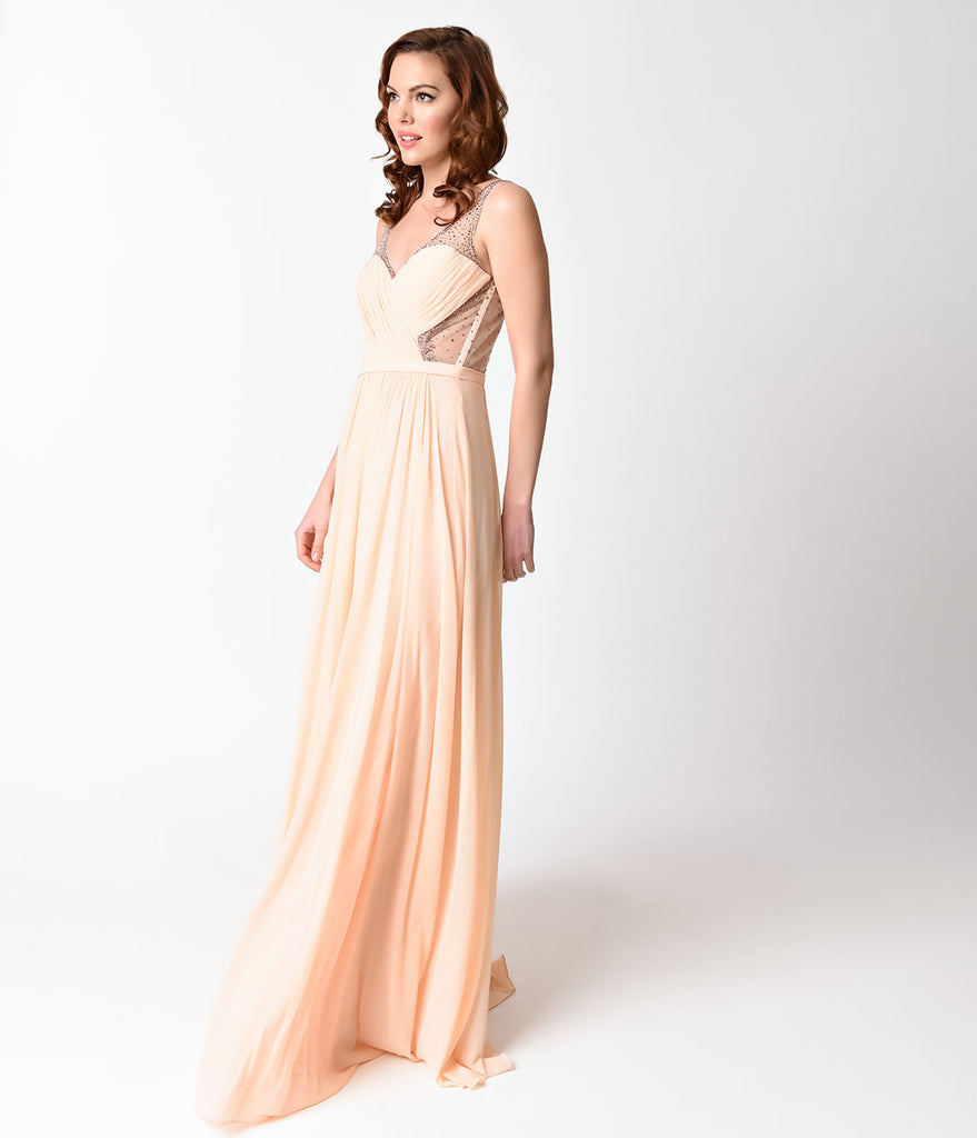 Peach Sexy Sheer Embellished Chiffon Long Dress
