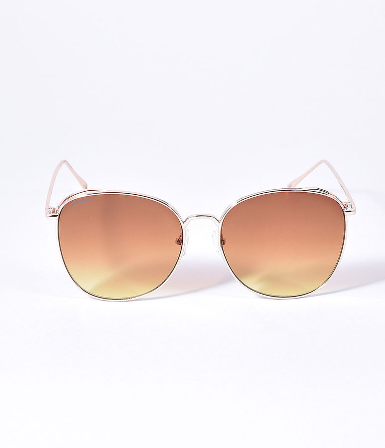 Perverse 1970s Style Gold Joy Aviator Sunglasses