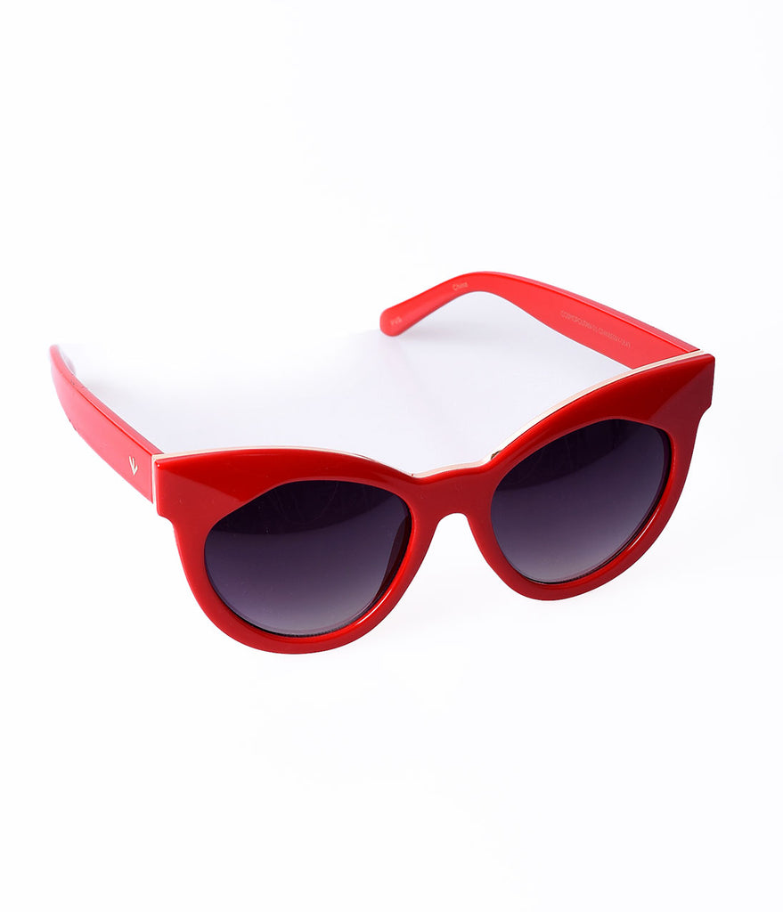 Perverse Retro Style Red Cranberry Cosmopolitan Cat Eye Sunglasses