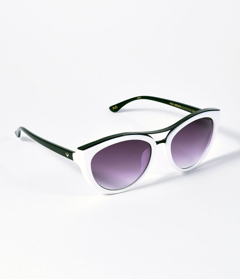 Perverse Retro Style White Positively Cat Eye Miss Brenda Sunglasses