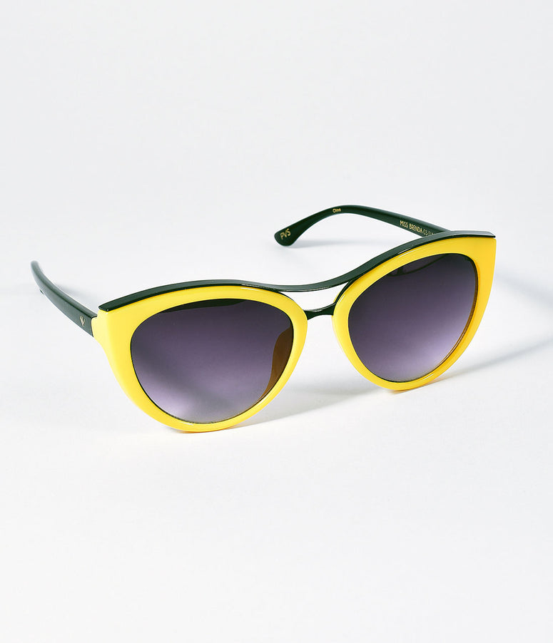Perverse Retro Style Yellow Sunshine Cat Eye Miss Brenda Sunglasses
