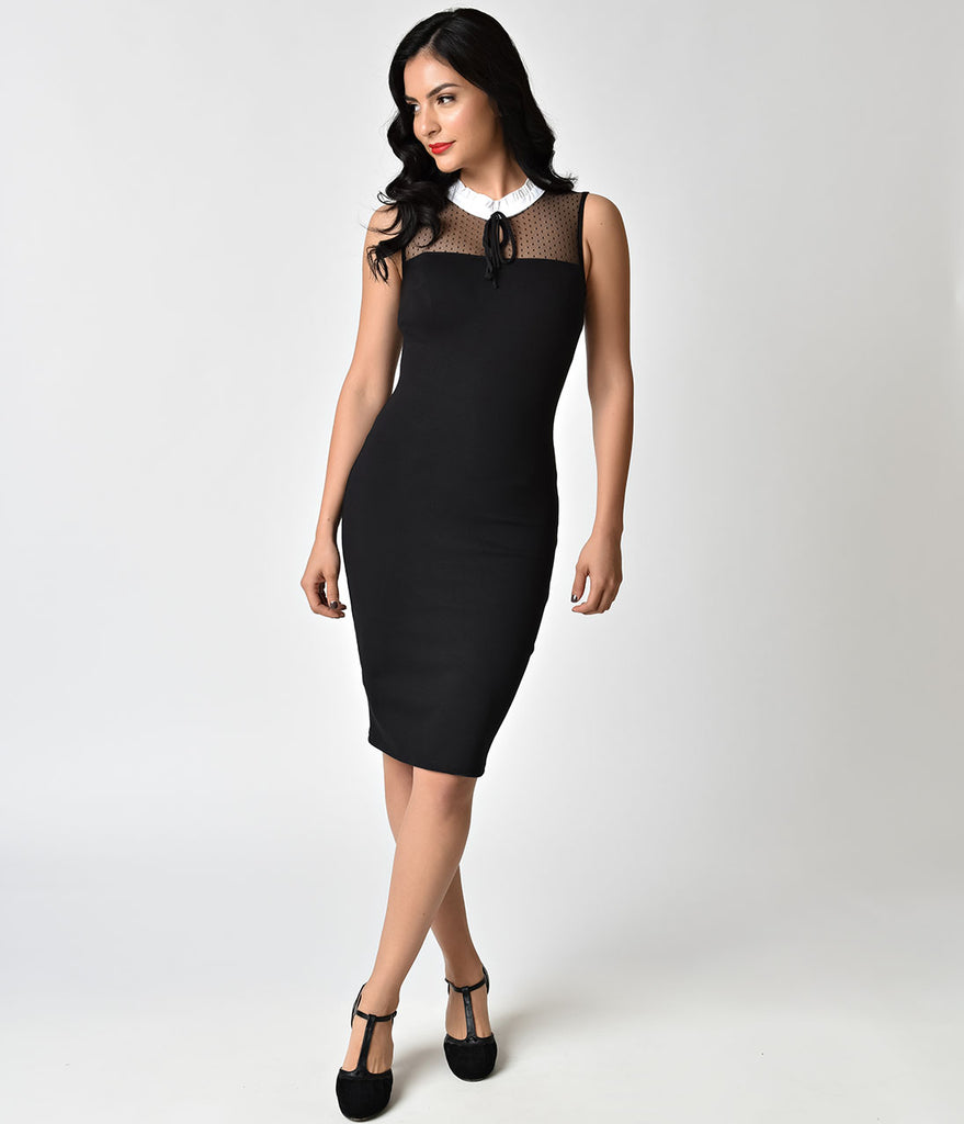 Pin-Up Style Black Swiss Dotted Sheer Neck Wiggle Dress