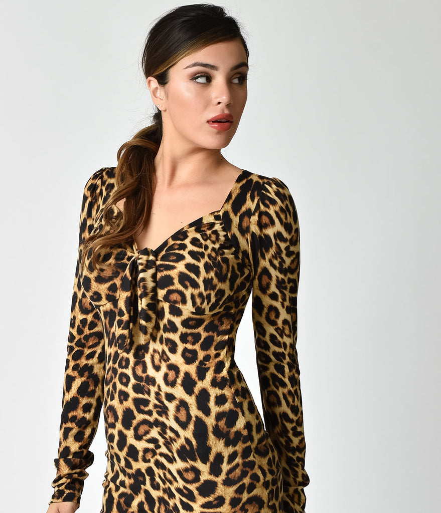 Pin-Up Style Leopard Print Long Sleeve Tie Top