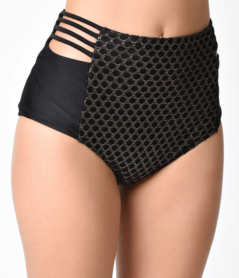 Pin Up Style Black & Gold Fishnet High Waist Swim Bottom