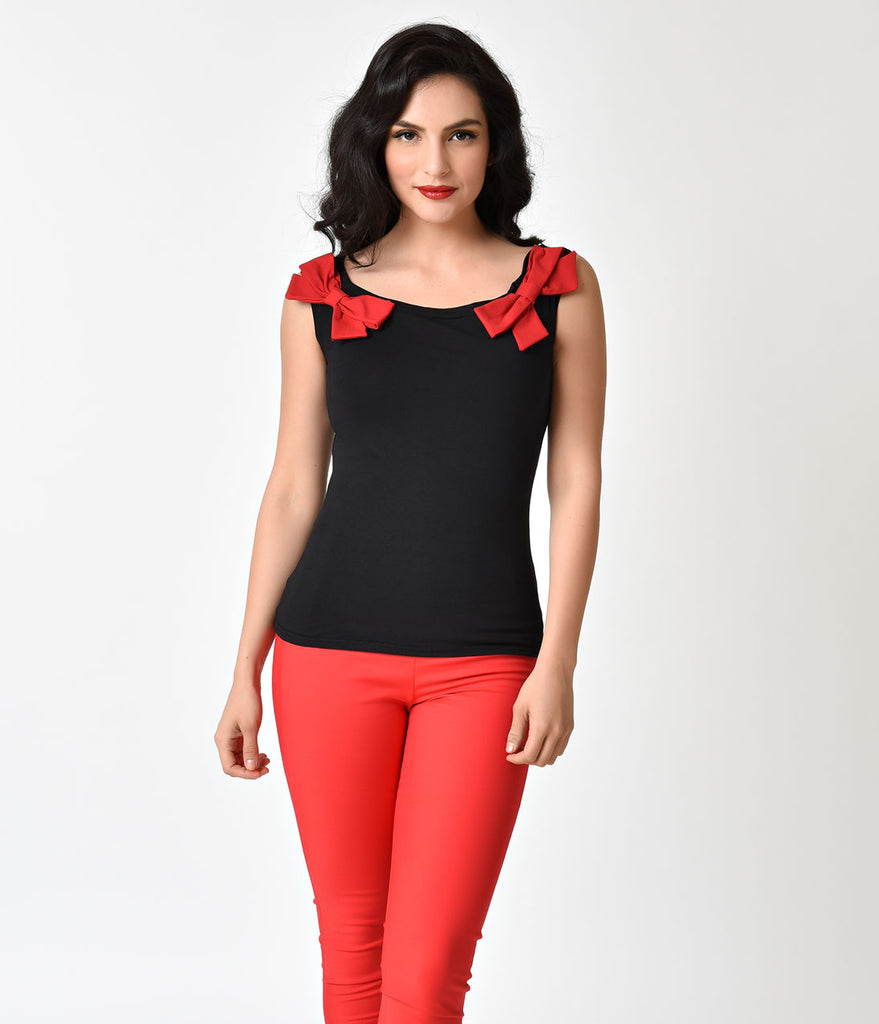 Pin Up Style Black & Red Bow Cap Sleeve Cotton Top