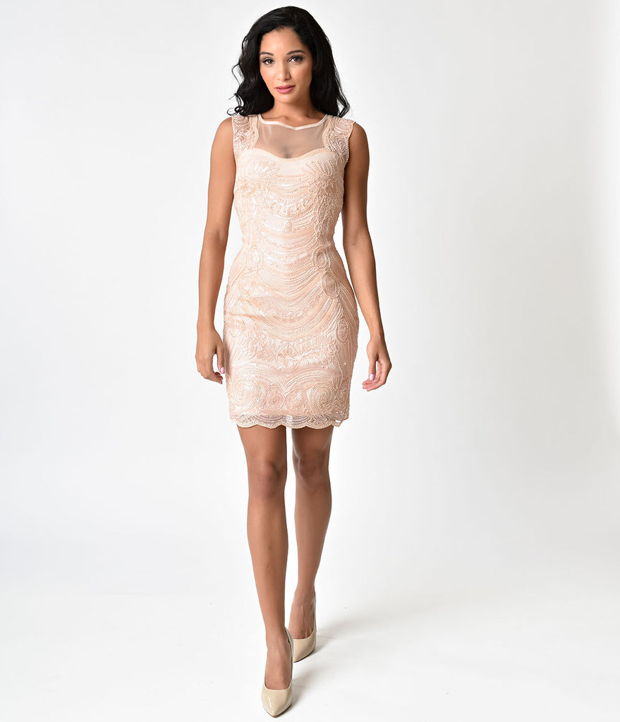 Pink Cut Out Illusion Back Beaded Short Flapper-Style Cocktail Dress ...