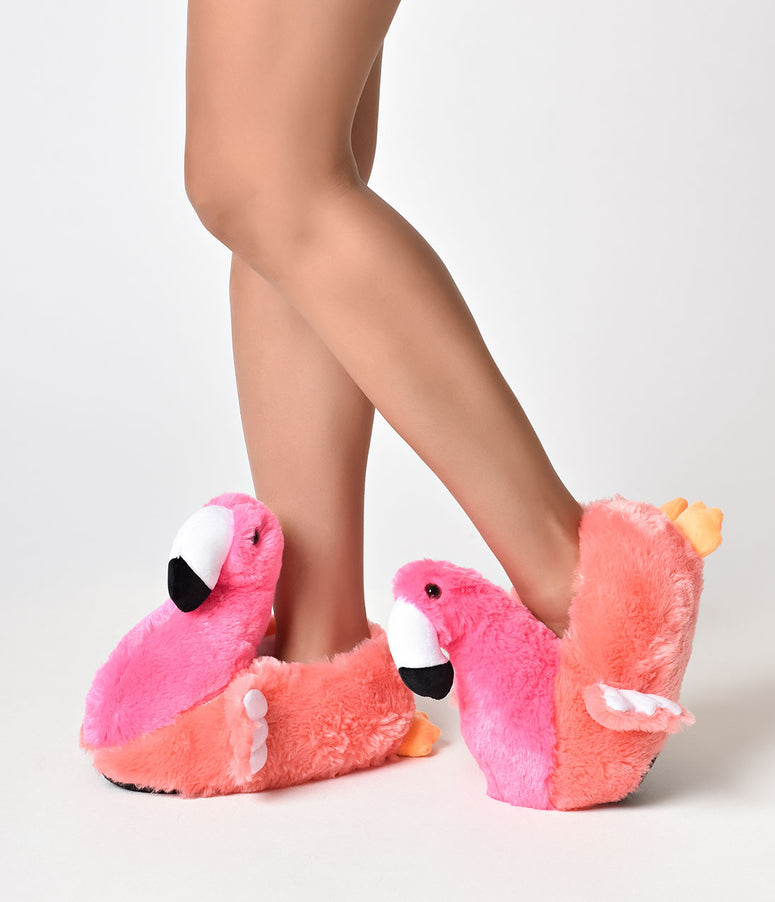 Pink Fuzzy Flamingo Slippers