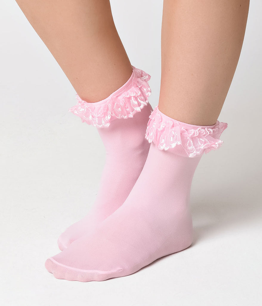 Pink Lace Ruffle Ankle Sock