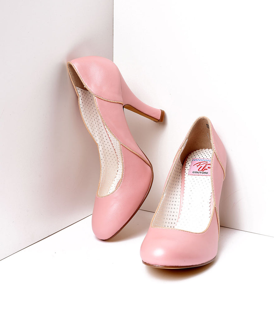 Pink Leatherette Heel With Gold Accents