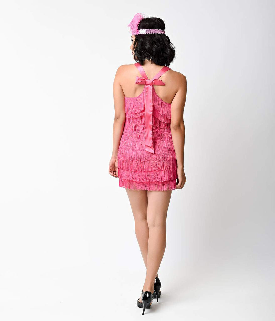 Pink Lindy and Lace Fringe Flapper Costume