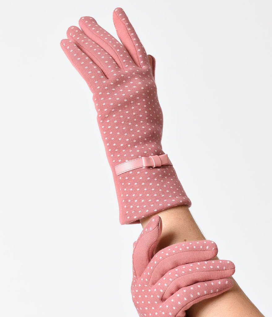 Pink & Polka Dot Wrist Length Bow Texting Gloves