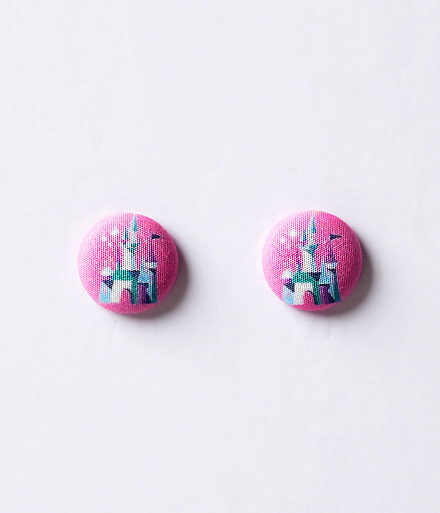 Pink Princess Castle Button Post Earrings